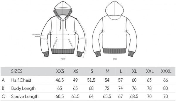 Zipped Hoodie Size Guide